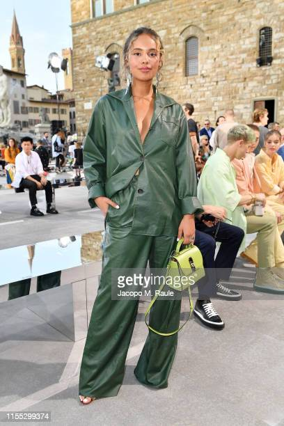 Alisha Boe attends the Salvatore Ferragamo show during Pitti Immagine Uomo 96 on June 11 2019 in Florence Italy