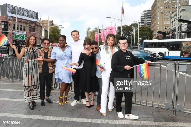 Alisha Boe Christian Navarro Danielle Brooks Jonathan Groff Yael Stone Samira Wiley Dannii Minogue and Lea Delaria at Taylor Square on March 2 2018...