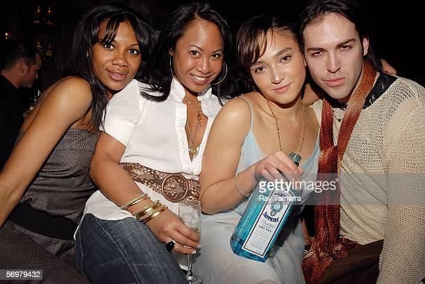 Alisha Davis publicist Joyce Sevilla model Naima Mora and publicist Tyler Burrow celebrate Naima Mora's birthday at Marquee March 1 2006 in New York...