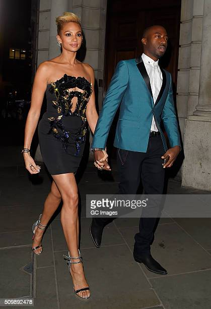 Alisha Dixon and her boyfriend Azuka Ononye leave MoMo restaurant and bar after an early Valentine's date on February 12 2016 in London England