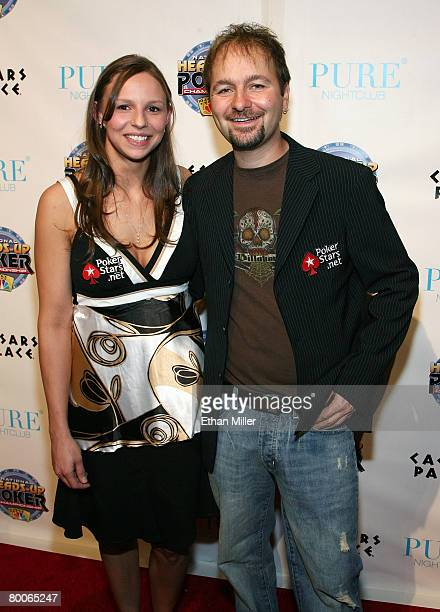Alisha Kunze and poker player Daniel Negreanu arrive at the draw party for NBC's fourth National HeadsUp Poker Championship at the Pure Nightclub at...