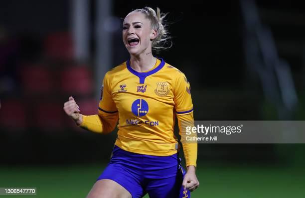 Alisha Lehmann of Everton celebrates after scoring their team's second goal during the Barclays FA Women's Super League match between Birmingham City...