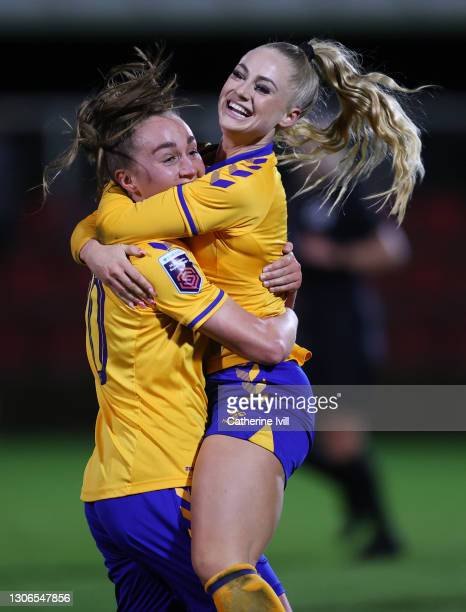 Alisha Lehmann of Everton celebrates with teammate Megan Finnigan after scoring their team's second goal during the Barclays FA Women's Super League...