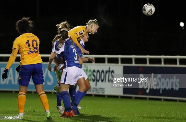 Alisha Lehmann of Everton scores their team's second goal during the Barclays FA Women's Super League match between Birmingham City Women and Everton...