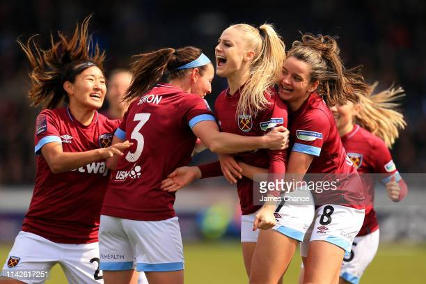 Alisha Lehmann of West Ham Ladies celebrates scoring her sides first goal with her team mates during the Women's FA Cup Semi Final match between...
