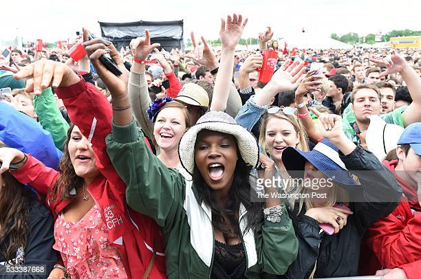 Alisha Locklear Emani Byrd and Erin Saunders jam to the music of rapper Fetty Wap during the 141st running of the Preakness Stakes on May 21 2016 in...