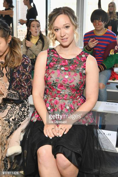 Alisha Marie attens the Badgley Mischka front row during New York Fashion Week The Shows at Gallery I at Spring Studios on February 13 2018 in New...