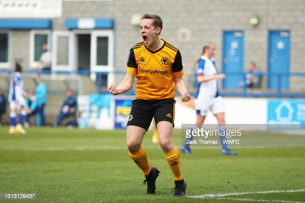 Alisha Miller of Wolverhampton Wanderers Women celebrates after she scores their team's first goal during the Vitality Women's FA Cup Fourth Round...