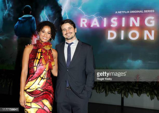 "Alisha Wainwright and Jason Ritter attend the Netflix ""Raising Dion"" Special Screening at Netflix on September 28 2019 in Los Angeles California"