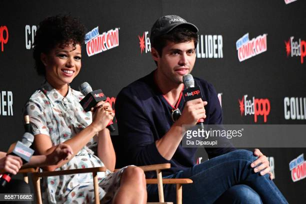 Alisha Wainwright and Matthew Daddario speaks at the Shadowhunter panel during 2017 New York Comic Con Day 3 on October 7 2017 in New York City