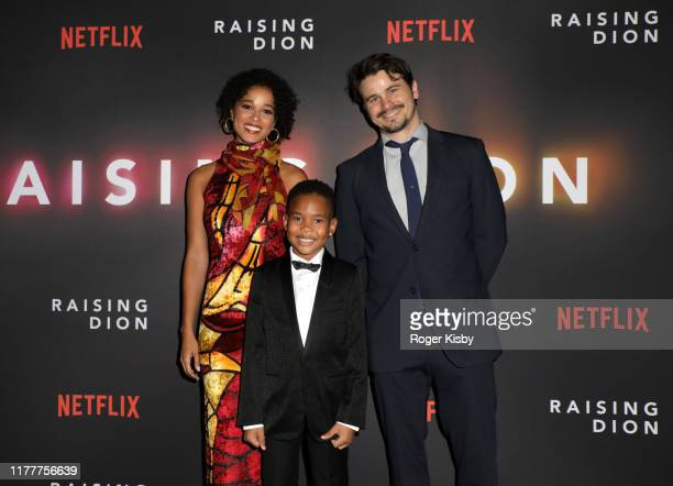 "Alisha Wainwright Ja'Siah Young and Jason Ritter attend the Netflix ""Raising Dion"" Special Screening at Netflix on September 28 2019 in Los Angeles..."