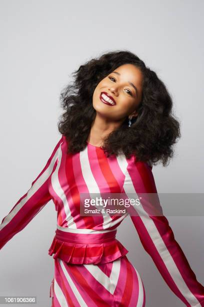 Alisha Wainwright poses for a portrait during the 2018 People's Choice Awards at The Barker Hanger on November 11 2018 in Santa Monica California
