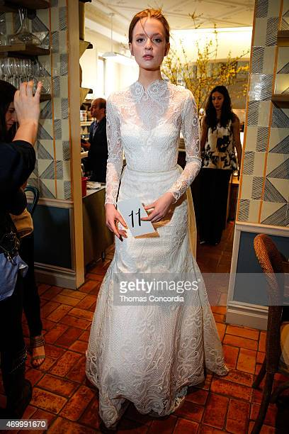 Alisha wearing The Birchwood Forest enters the Lela Rose Bridal Spring/Summer 2016 Presentation at Claudette NYC on April 16 2015 in New York City