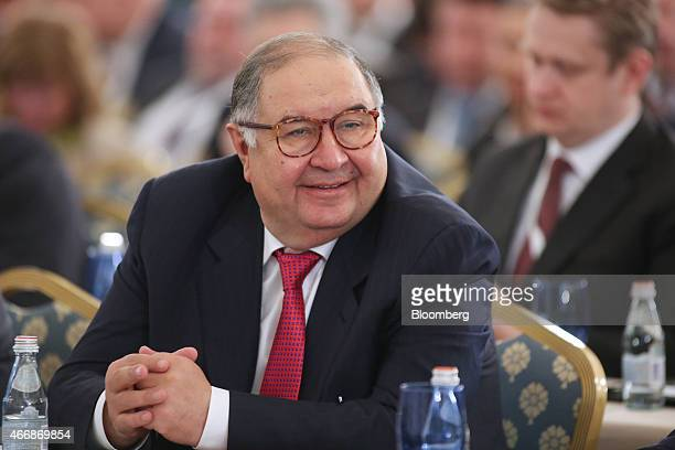 Alisher Usmanov Russian billionaire and owner of USM Holdings Ltd attends a meeting of the Russian Union of Industrialists and Entrepreneurs during...