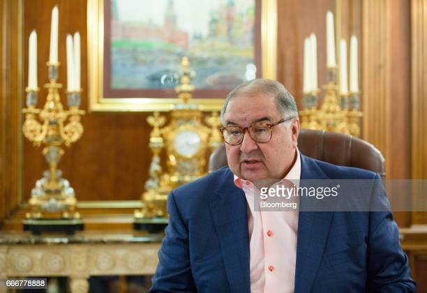 Alisher Usmanov Russian billionaire speaks during an interview at his office in Moscow Russia on Thursday April 6 2017 Arsenals secondbiggest...