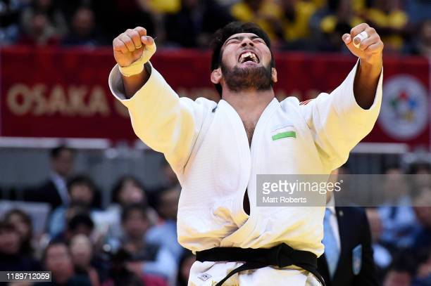 Alisher Yusupov of Uzbekistan celebrates defeating Daigo Kagawa of Japan in the Men's 100kg bronze final on day three of the Judo Grand Slam at the...