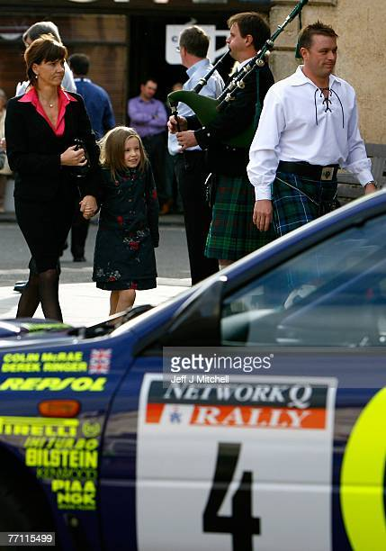 Alison and Hollie McRae arrive at church as hundreds gathered in Lanark to pay tribute to former World Rally champion Colin McRae who died two weeks...