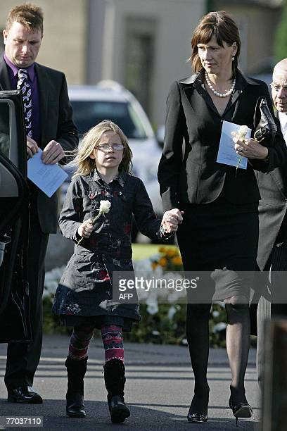 Alison and Holly wife and daughter of former world rally champion Colin McRae leave after a funeral service at East Chapel, Daldowie Crematorium, in...