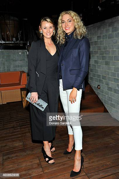 Alison Aston and Veronica Swanson Beard attend the Veronica Beard Spring 2015 dinner at Petit Ermitage on March 10 2015 in Hollywood California