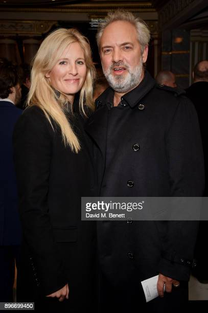 Alison Balsom and Sam Mendes attend the press night performance of 'Hamilton' at The Victoria Palace Theatre on December 21 2017 in London England