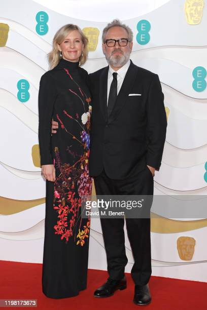 Alison Balsom and Sir Sam Mendes arrive at the EE British Academy Film Awards 2020 at Royal Albert Hall on February 2 2020 in London England