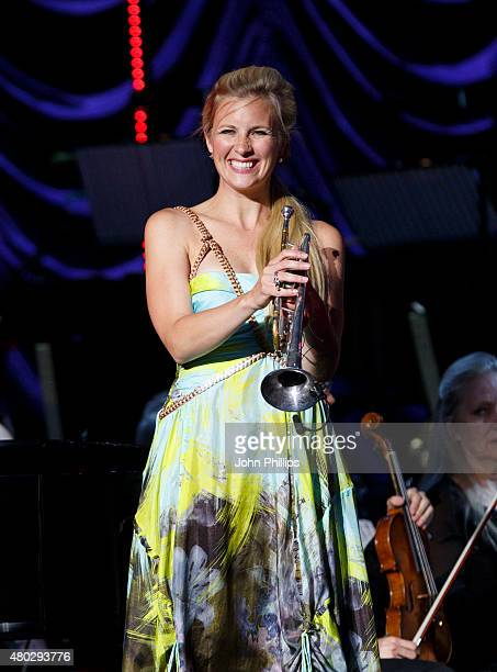Alison Balsom performs on Day 3 of The Henley Festival on July 10 2015 in HenleyonThames England
