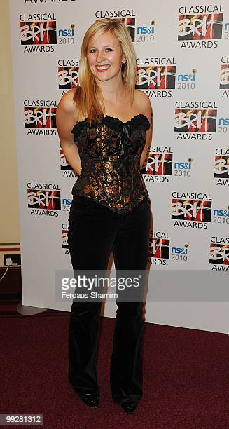 Alison Balsom poses in the winners room at the Classical BRIT Awards at Royal Albert Hall on May 13 2010 in London England