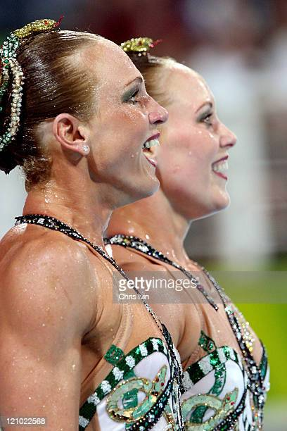 Alison Bartosik and Anna Kozlova of the United States place third in the Women's Duet Free Routine Preliminary at the Synchronised Swimming Pool on...