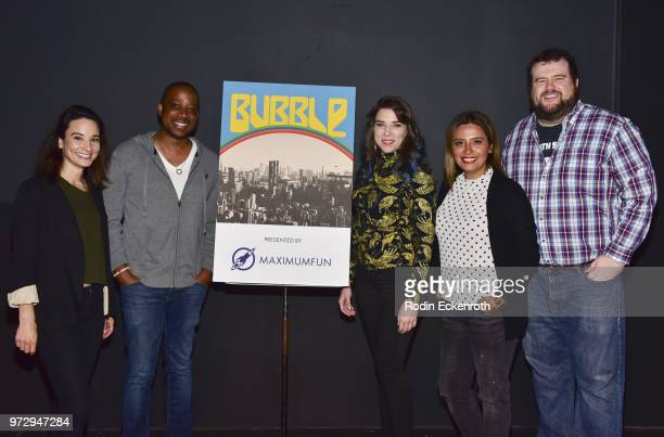 Alison Becker Keith Powell Eliza Skinner Cristela Alonzo and Mike Mitchell pose for portrait at the MaximumFunorg Comedy Podcast photo call at...