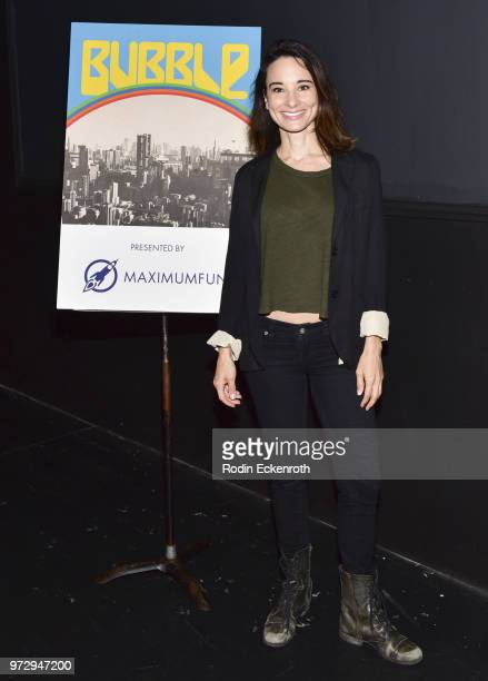 Alison Becker poses for portrait at the MaximumFunorg Comedy Podcast photo call at Dynasty Typewriter at the Hayworth on June 12 2018 in Los Angeles...