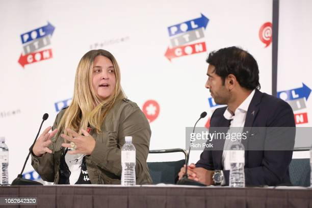 Alison Brettschneider and Steven Olikara speak onstage during Politicon 2018 at Los Angeles Convention Center on October 20 2018 in Los Angeles...