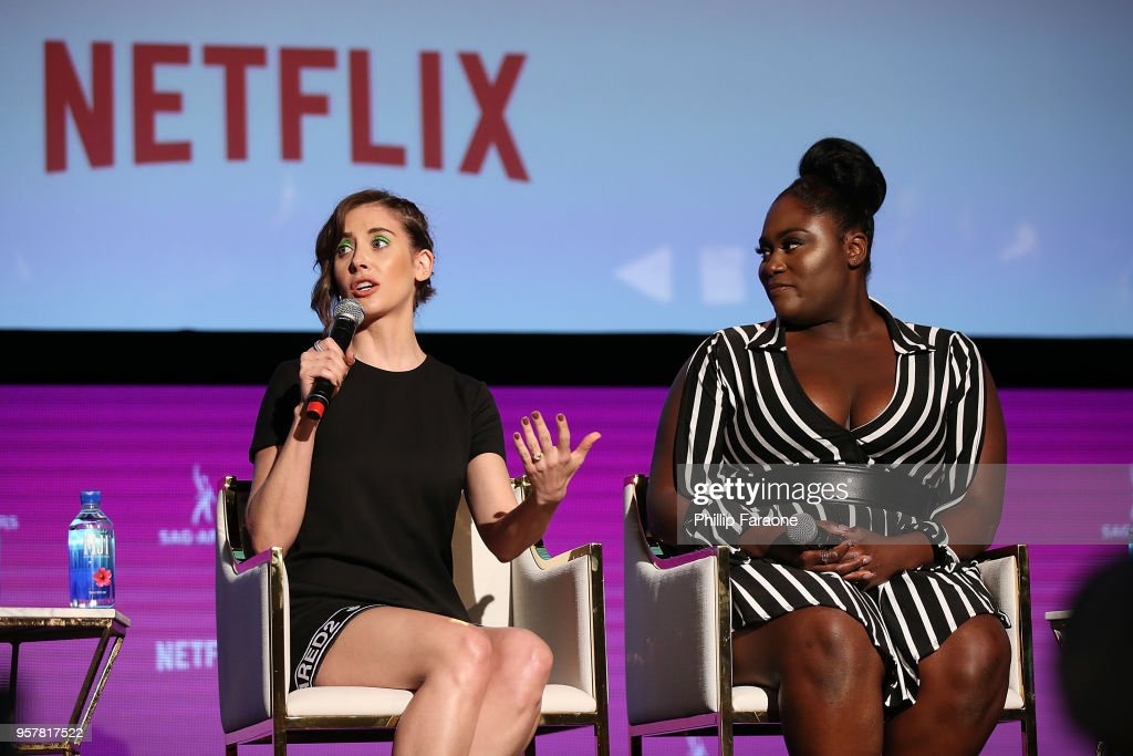 Alison Brie and Danielle Brooks speak onstage at the Netflix - Rebels and Rule Breakers For Your Consideration Event at Netflix FYSee Space on May 12, 2018 in Beverly Hills, California.