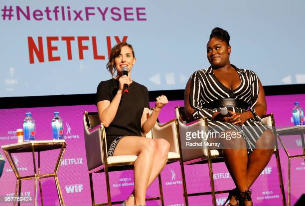 Alison Brie and Danielle Brooks speak onstage at the Rebels and Rule Breakers Panel at Netflix FYSEE at Raleigh Studios on May 12 2018 in Los Angeles...