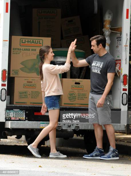 Alison Brie and Jason Sudeikis on the set of 'Sleeping With Other People' on July 3 2014 in New York City