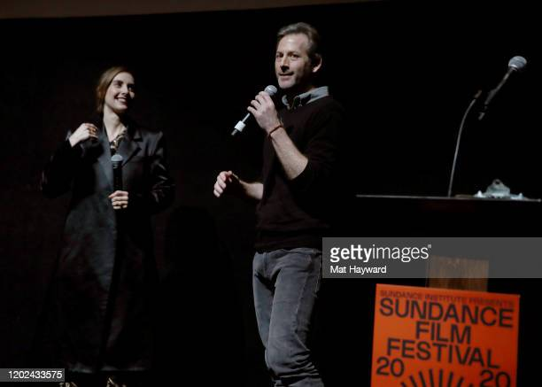 Alison Brie and Jeff Baena speak onstage during the Netflix Horse Girl Premiere at The Ray on January 27 2020 in Park City Utah