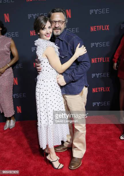 Alison Brie and Marc Maron attend the Netflix FYSEE Kick-Off at Netflix FYSEE At Raleigh Studios on May 6, 2018 in Los Angeles, California.