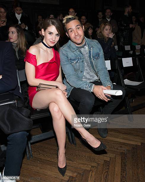 Alison Brie and Pete Wentz attend the Monse fashion show during Fall 2016 New York Fashion Week at The High Line Hotel on February 12 2016 in New...