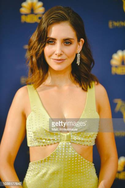 Alison Brie arrives at the 70th Emmy Awards on September 17 2018 in Los Angeles California