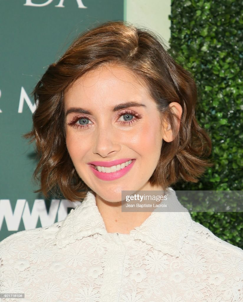 Alison Brie arrives to the Council of Fashion Designers of America luncheon held at Chateau Marmont on February 20, 2018 in Los Angeles, California.