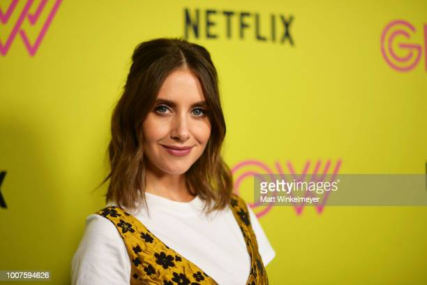 Alison Brie attends Netflix's 'Glow' celebrates its 10 Emmy Nominations with RollerSkating event at World on Wheels on July 29 2018 in Los Angeles...