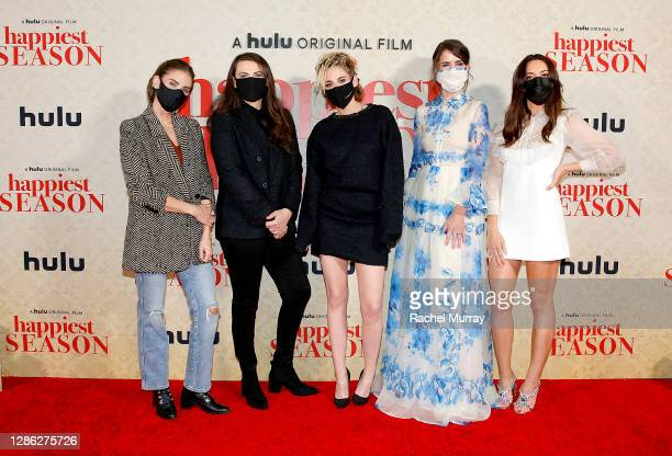 """Alison Brie, Clea DuVall, Kristen Stewart, Mary Holland and Aubrey Plaza attend Hulu """"Happiest Season"""" Drive-In Premiere at The Grove on November 17,..."""