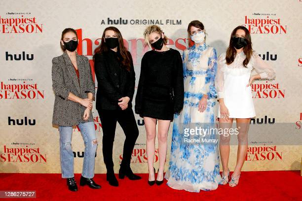 "Alison Brie, Clea DuVall, Kristen Stewart, Mary Holland and Aubrey Plaza attend Hulu ""Happiest Season"" Drive-In Premiere at The Grove on November 17,..."