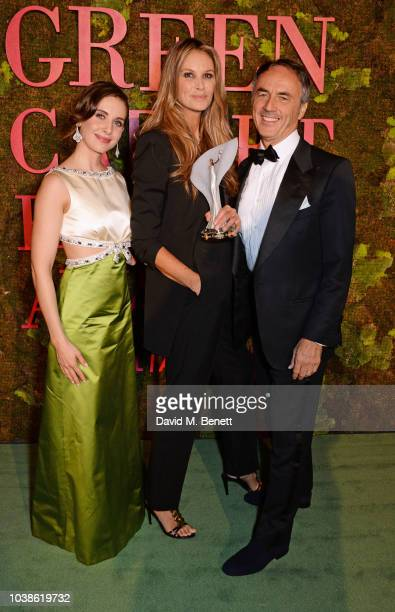 Alison Brie Elle Macpherson winner of The Wellness Award and Nerio Alessandri pose backstage at The Green Carpet Fashion Awards Italia 2018 at Teatro...