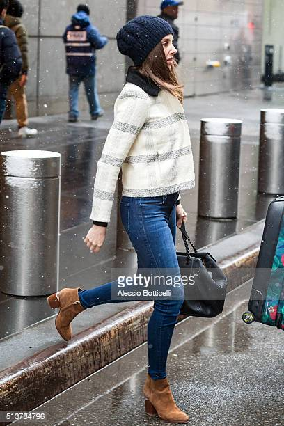 Alison Brie is seen in a snow while waiting for her ride in Midtown on March 4 2016 in New York City