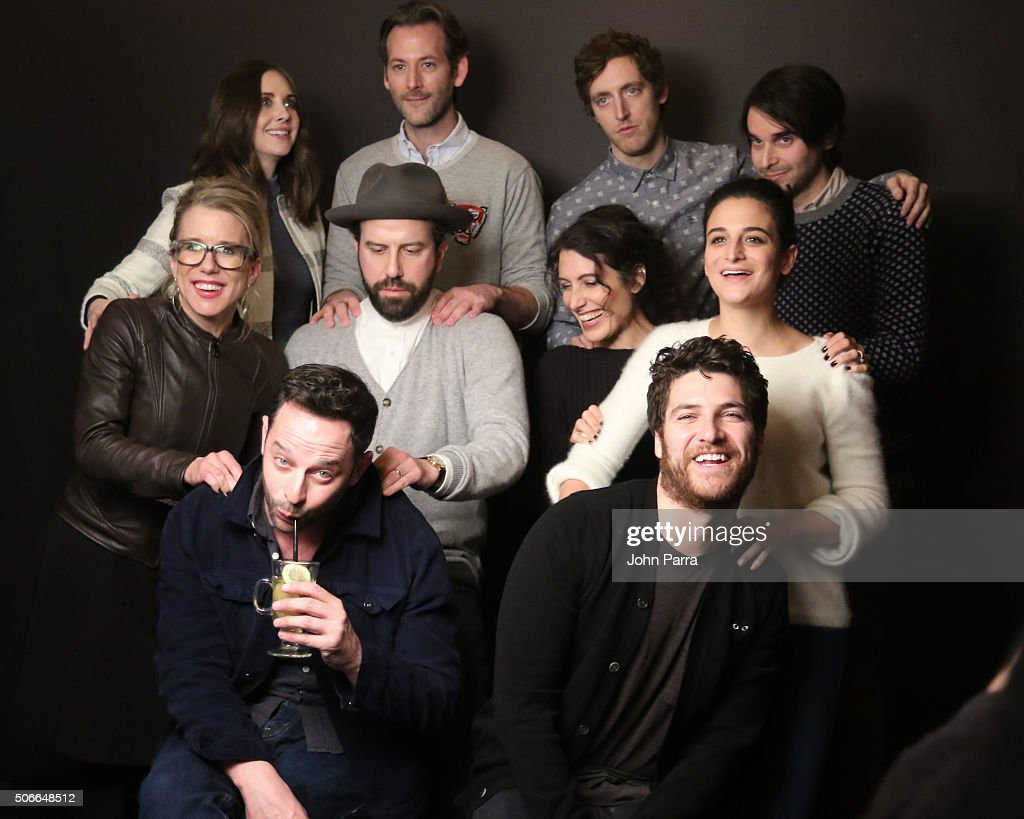 Alison Brie, Jeff Baena, Thomas Middleditch ,Adam Pally ,Nick Kroll ,Brett Gelman ,Jenny Slate, Aubrey Plaza ,Lisa Edelstein and Lauren Weedman from the film ''Joshy' posed for a portrait during The Hollywood Reporter 2016 Sundance Studio At Rock & Reilly's - Day 3 - 2016 Park Cityon January 24, 2016 in Park City, Utah.