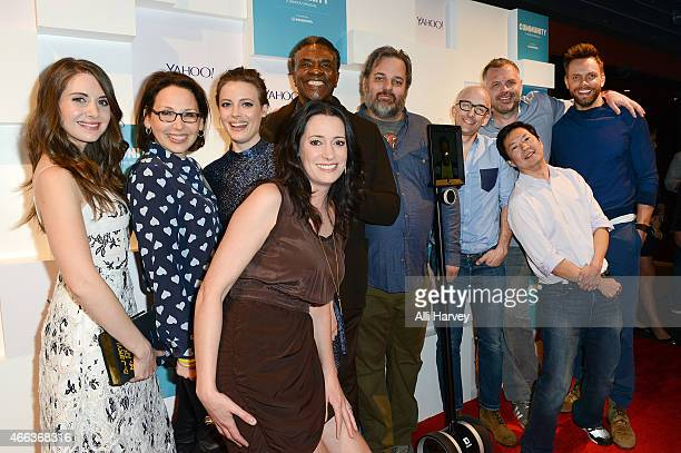 Alison Brie Kathy Savitt Gillian Jacobs Paget Brewster Keith David Dan Harmon Jim Rash Chris McKenna Ken Jeong and Joel McHale attend Yahoo's...
