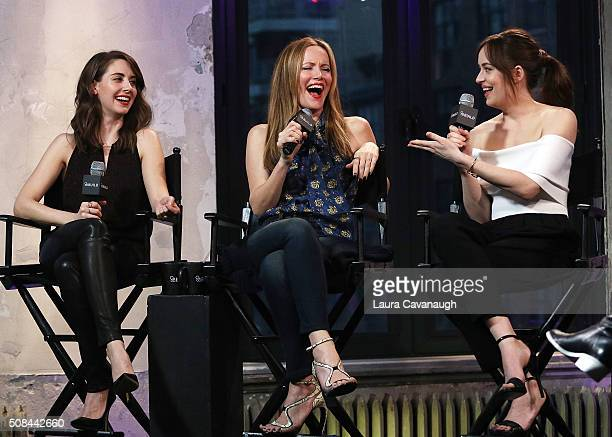 Alison Brie Leslie Mann and Dakota Johnson attend the AOL Build Speaker Series to discuss How to be Single at AOL Studios In New York on February 4...