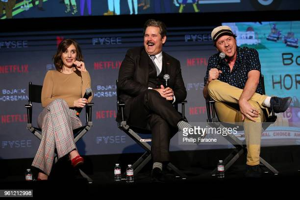 Alison Brie Paul F Tompkins and Mike Hollingsworth speak onstage at the #NETFLIXFYSEE Animation Panel Featuring 'Big Mouth' and 'BoJack Horseman' at...