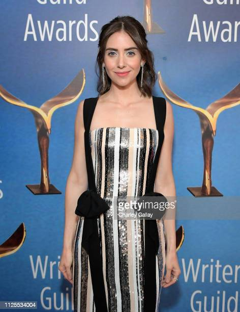 Alison Brie poses in the press room during the 2019 Writers Guild Awards LA Ceremony at The Beverly Hilton Hotel on February 17 2019 in Beverly Hills...