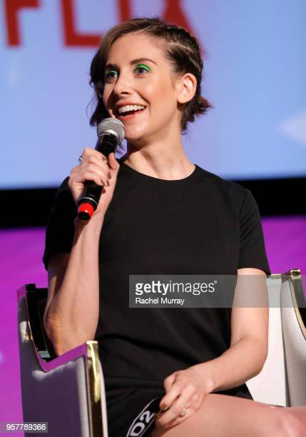 Alison Brie speaks onstage at the Rebels and Rule Breakers Panel at Netflix FYSEE at Raleigh Studios on May 12 2018 in Los Angeles California